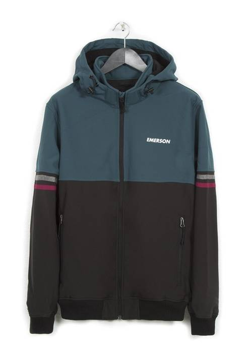DETACHABLE HOOD BONDED JACKET 182.EM11.51 BLACK/FOREST