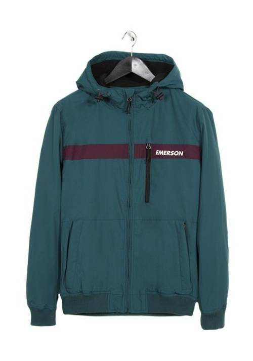 HOODED BOMBER SPORT JACKET 182.EM10.34 GREEN/WINE