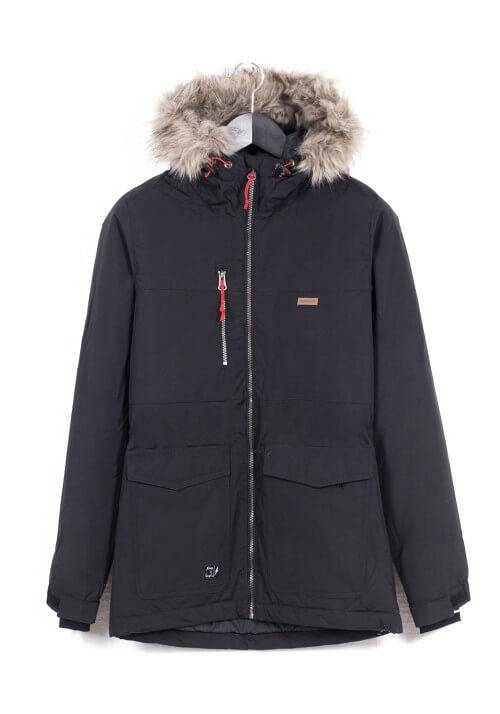 Padded Hooded Jacket with Faux Fur detail 172.EW10.59 BLACK