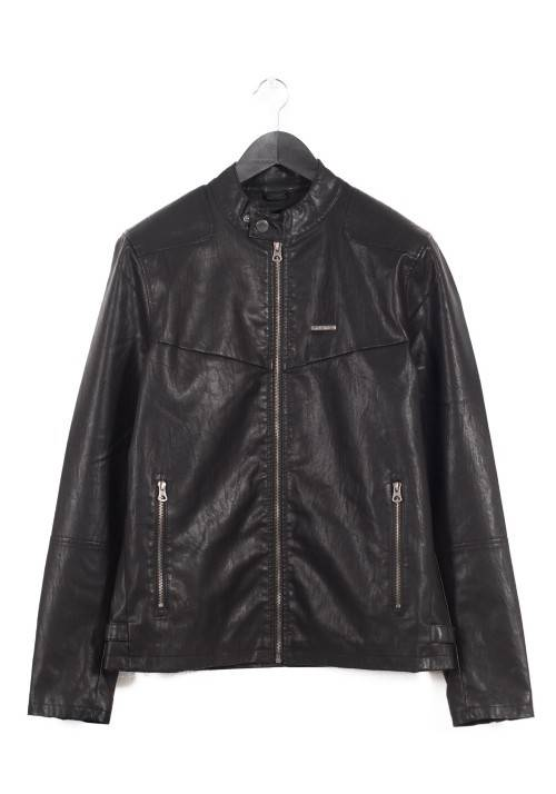 Basic PU Leather Biker Jacket 172.EM16.01 BLACK