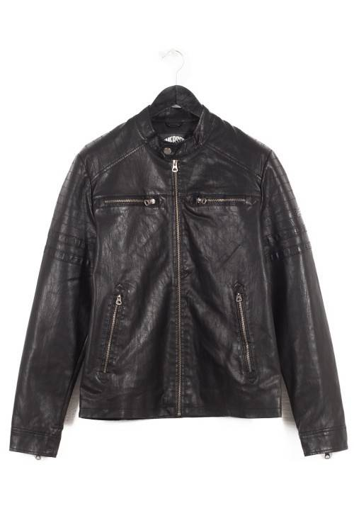 PU Leather Quilted Biker Jacket 172.EM16.02 BLACK