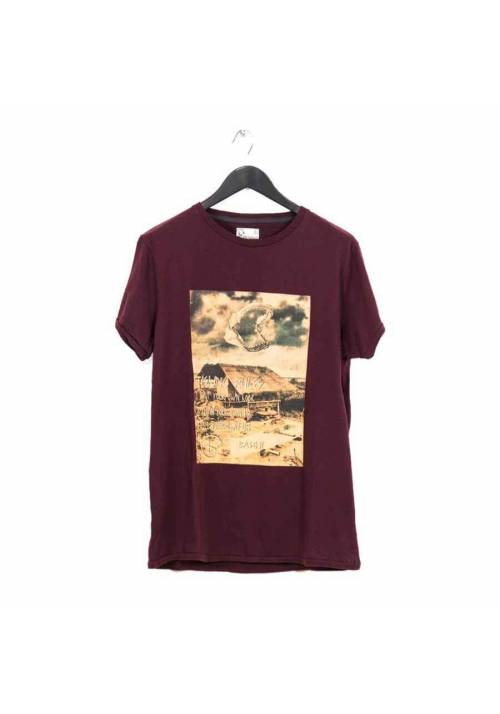 COTTON T-SHIRT WITH PRINT MT1642 WINE