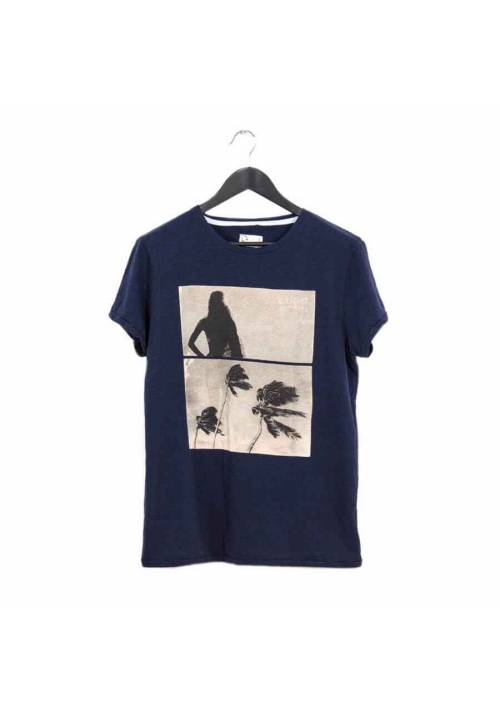 COTTON T-SHIRT WITH PRINT MT1631 NAVY