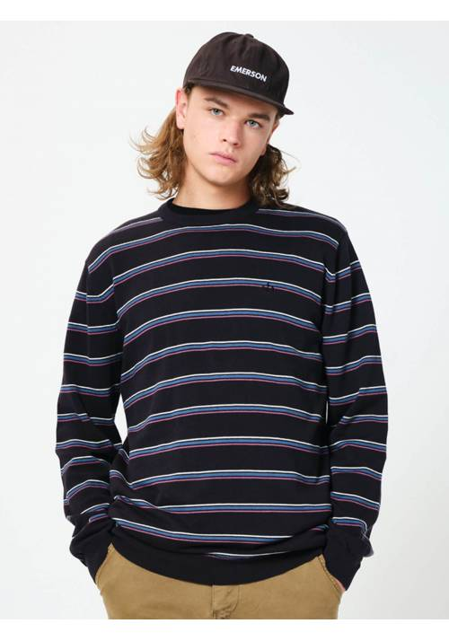 STRIPPED KNITTED SWEATER 202EM70.92 BLACK