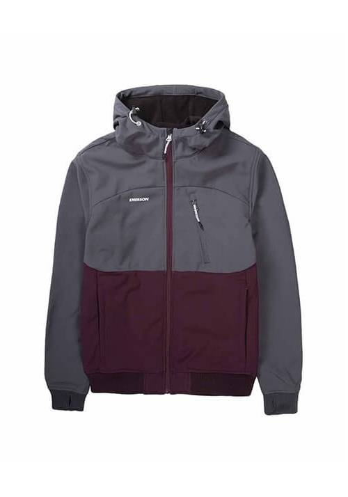 HOODED BONDED SPORT JACKET 192.EM11.127 WINE/GREY