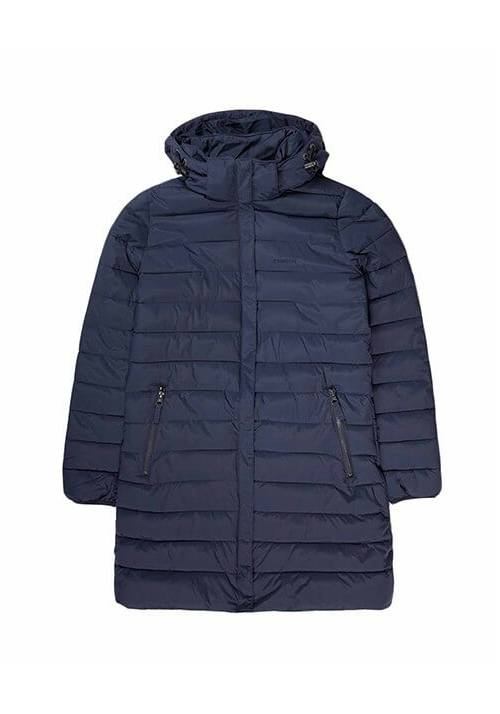DETACHABLE HOOD FAKE DOWN QUILTED LONG JACKET 192.EW10.82 NAVY
