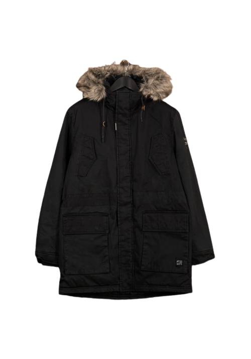 Cotton Faux-Fur Lining Parka MR1570 BLACK