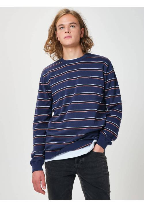 STRIPPED KNITTED SWEATER 202EM70.92 BLUE