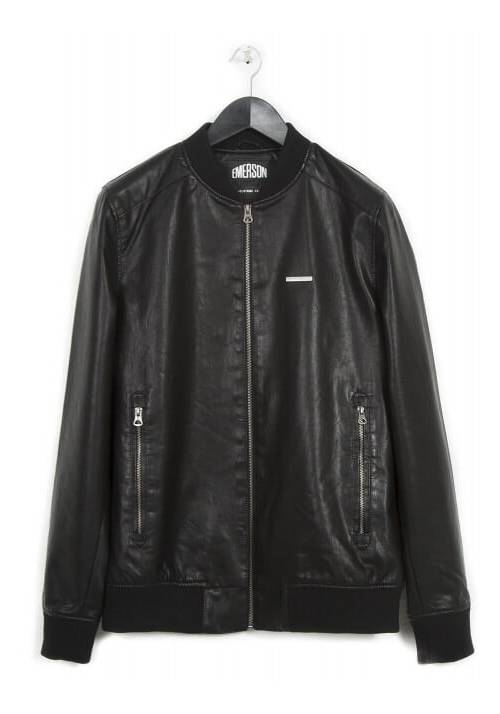 PU LEATHER RIBBED BOMBER JACKET 182.EM16.11 BLACK