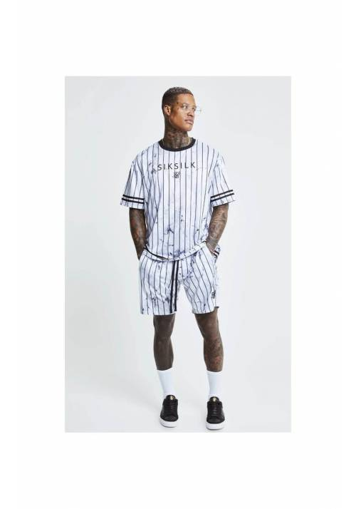 SikSilk Marble Relaxed Fit Shorts 17502 WHITE/GREY