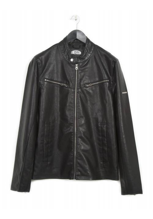 PU LEATHER BIKER JACKET 182.EM16.130 BLACK