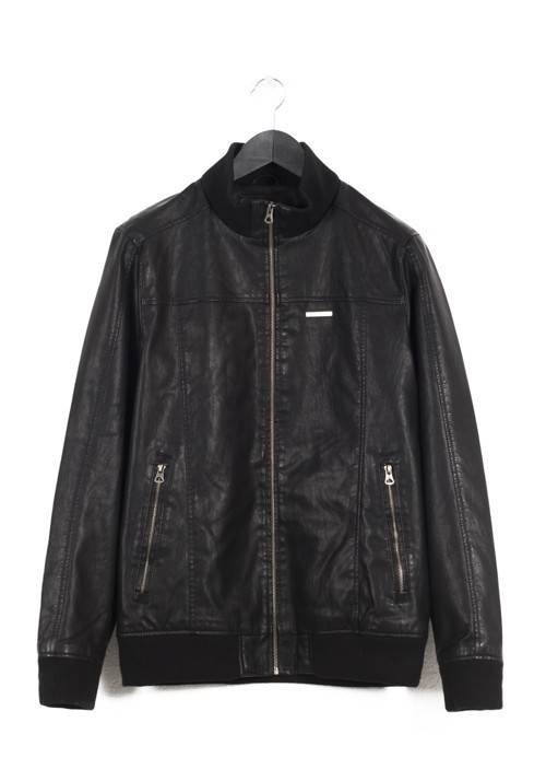 PU LEATHER BOMBER JACKET 182.EM16.05 BLACK