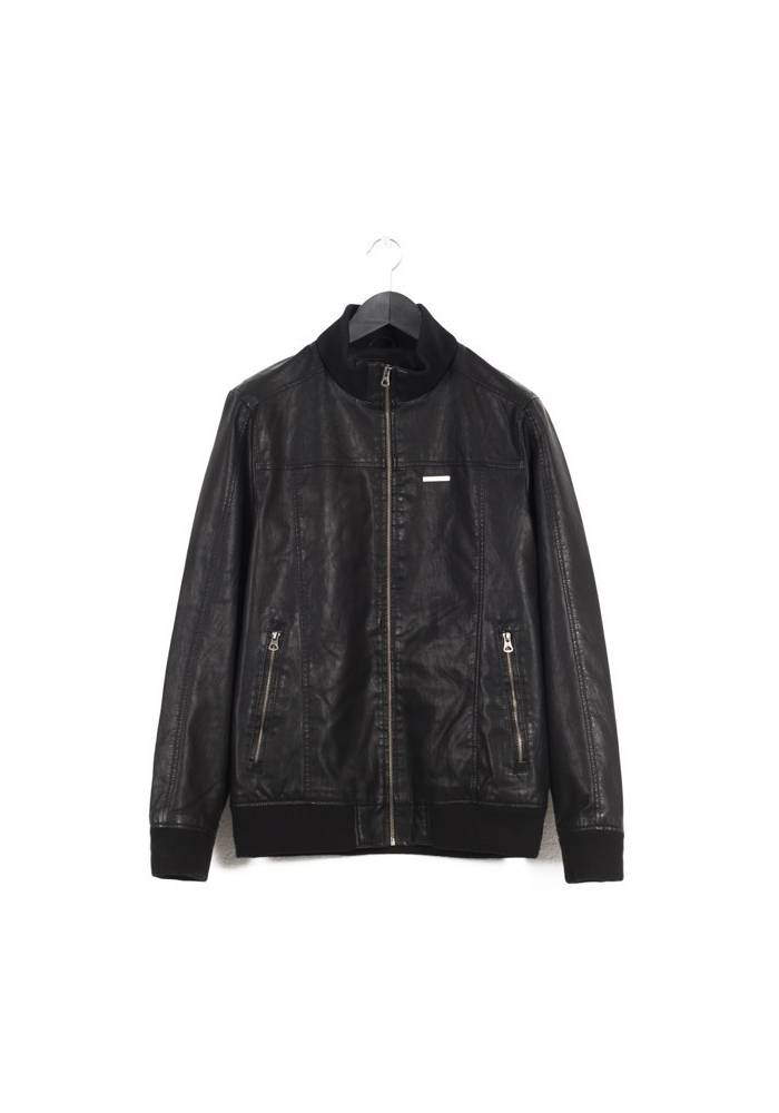 PU LEATHER BOMBER JACKET
